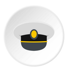 White nautical hat icon circle vector
