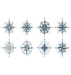 wind rose compass with direction arrows icons vector image