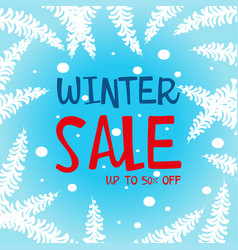 Winter sale up to 50 percent poster design vector