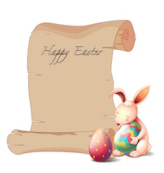 A bunny with two Easter eggs vector image