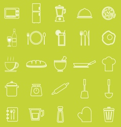 Kitchen line icons on green background vector image