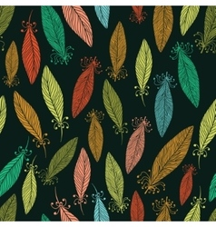 Pattern with ornate feathers vector image vector image