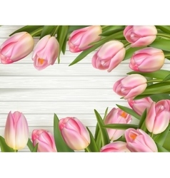 Pink Tulips over wooden table EPS 10 vector image