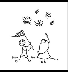 children catching butterflies with a net vector image vector image