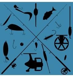 fishing equipment set vector image