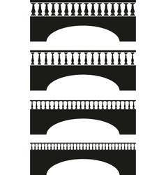 set of ancient stone bridge black silhouettes vector image