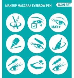 set of round icons white Makeup mascara eyebrow vector image