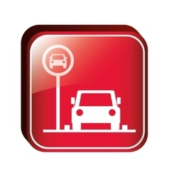 Square button parking area for vehicles vector