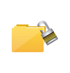 yellow file and close lock icon vector image