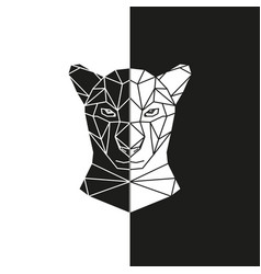 black and white panther head geometric vector image