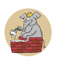 Elephant bricklayer vector