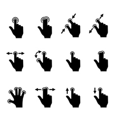 Gesture Icons Set for Mobile Touch Devices vector image
