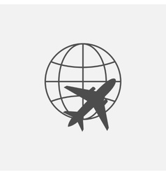 Globe and plane icon line vector image