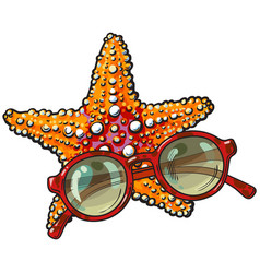 hand drawn starfish and round sunglasses in red vector image vector image