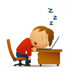 man sleeping at work vector image vector image