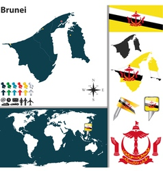 Brunei map vector image vector image