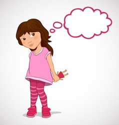 Little girl dreaming about holiday gifts vector image vector image