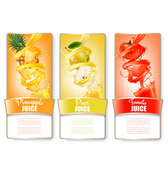 set of three labels of of fruit in juice splash vector image vector image