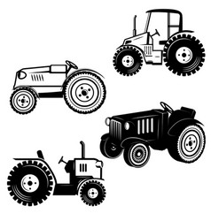 set of tractor icons isolated on white background vector image
