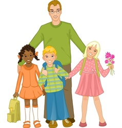 Teacher with group of children vector image