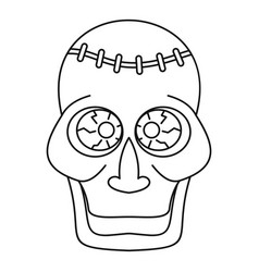 Trepanation skull of zombie icon outline style vector