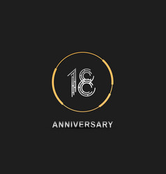 18 anniversary logotype with silver number vector