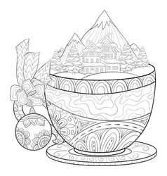 Adult coloring bookpage a cute cup with a winter vector