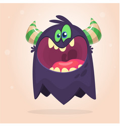 Angry cartoon black monster screaming vector