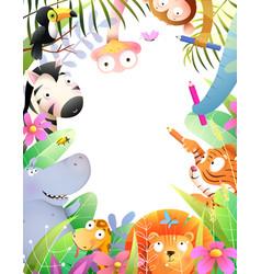 Animals drawing playing invitation diploma frame vector