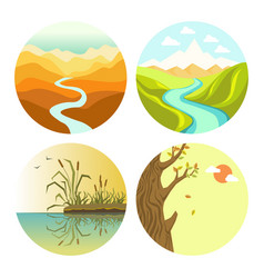 autumn and spring or summer landscapes and nature vector image