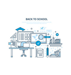 Back to school distance education e-learning vector