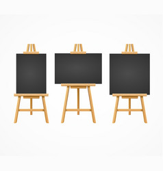Black board easel blank empty template set vector