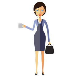 business woman lady with a cup of tea and teapot vector image