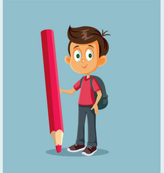 cartoon male student standing near a giant pencil vector image
