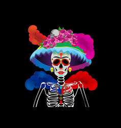 Catrina skull day dead isolated vector