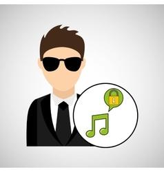 character man protected digital music vector image