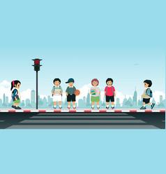 Children waiting for the traffic light vector
