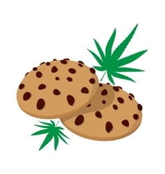 Chocolate chip cookies with marijuana lea icon vector