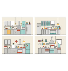 Collection of kitchens furnished with modern vector