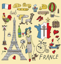 Color travel to europe france symbols and vector