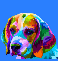 colorful beagle head vector image