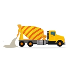 Concrete Mixing Truck in Flat Design vector