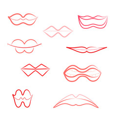 contour womens lips icons isolated on white vector image