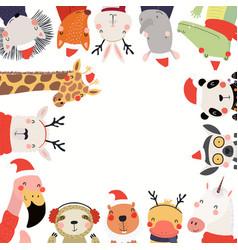 Cute animals christmas frame vector