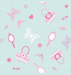 Cute seamless pattern background with girls stuff vector