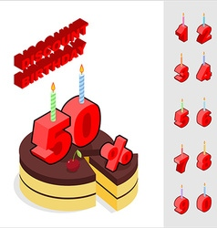 Discounts for birthday chocolate cake and candles vector