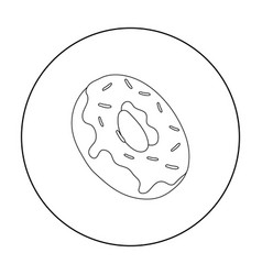 Donut icon in outline style isolated on white vector