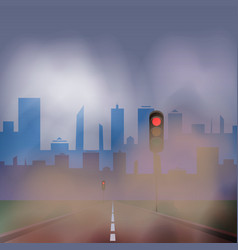 Dusty road to the city with traffic lights vector