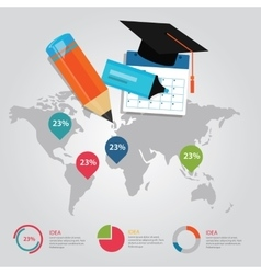 Education info graphic world map statistics cap vector