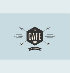 emblem cafe with arrows vector image